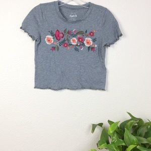 Hollister graphic tee cropped embroidered size xs
